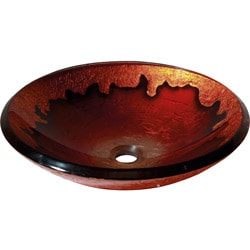 Contemporary Gold Lava Tempered Glass Vessel Sink