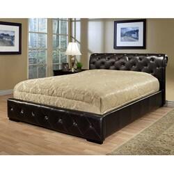 Delano Dark Brown Bi-cast Leather Queen-size Bed