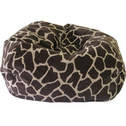 Gold Medal Jumbo Round Giraffe Sueded Bean Bag
