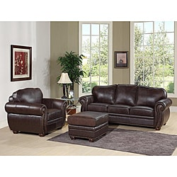 Abbyson Living Richfield Premium Top-grain Leather Sofa, Armchair, and Ottoman Set