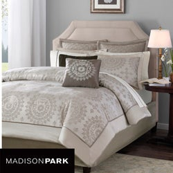 Madison Park Sausalito Tan 12-piece King-size Bed in a Bag with Sheet Set