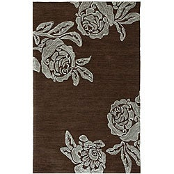Hand-tufted Brown Floral Rug (2' x 3')