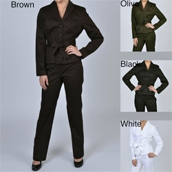 Larry Levine Signature Women's Belted Jacket Pant Suit