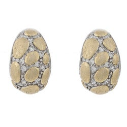 La Preciosa Sterling Silver Two-tone Cubic Zirconia Puffed Earrings