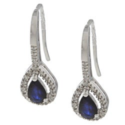 Viducci 10k White Gold Sapphire and 1/6ct TDW Diamond Earrings (G-H, I1-I2)