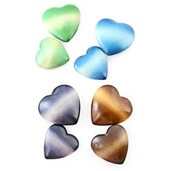 Set of 2 Soapstone Maridadi Heart Paperweights (Kenya)