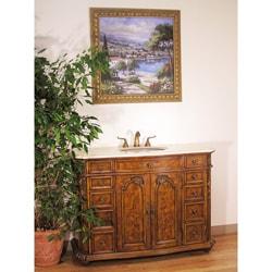 Cream Marble Top 48-inch Single Sink Bathroom Vanity in Walnut Brown Finish