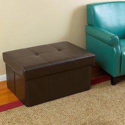 Brown Leatherette Large Foldable Ottoman