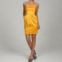 Jessica Simpson Women's Ruffle Bust Strapless Dress