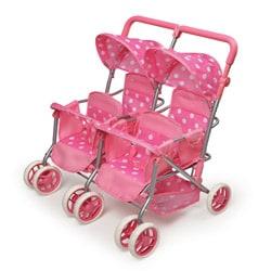 Badger Basket Pink Quad Deluxe Doll Stroller