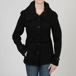 Sebby Collection Women's Black Knit Trim Trench Coat