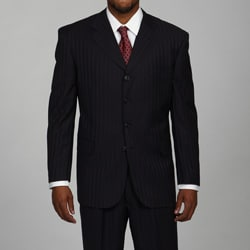 Bendetti Men's Black Shadow Stripe Wool 4-button Suit