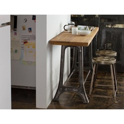 Reclaimed Teak and Metal Console and Tufted Metal Stools Set (India)
