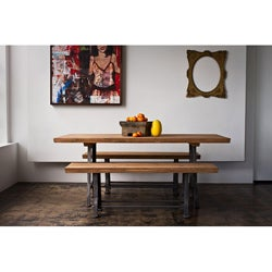 Teak and Metal 3-piece Dining Set (India)