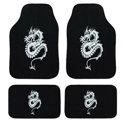 Dragon Automotive 4-piece Embroidered Carpet Floor Mat Set