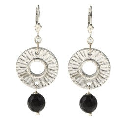 Charming Life Silvertone Onyx Radiant Sun Earrings