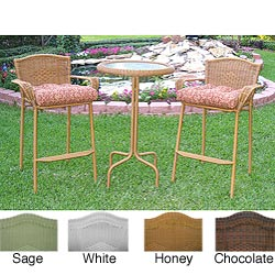 Resin Wicker Outdoor 3-piece Bar-height Bistro Set