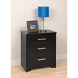 Yaletown Black Wide Locking 3-drawer Night Stand