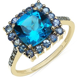 Malaika 10k Yellow Gold Blue Topaz, Tanzanite and Diamond Accent Ring