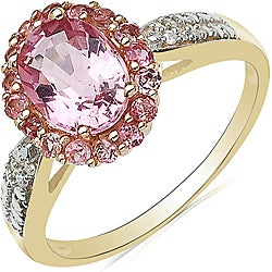 Malaika 10k Yellow Gold Pink Tourmaline and Diamond Accent Ring