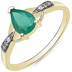 Malaika 10k Yellow Gold Emerald and Diamond Accent Ring
