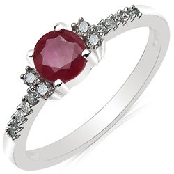 Malaika 10k White Gold Ruby and 1/8ct TDW Diamond Ring (J-K, I2-I3)