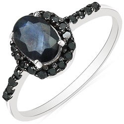 Malaika 10k White Gold Blue Sapphire and 1/4ct TDW Black Diamond Ring
