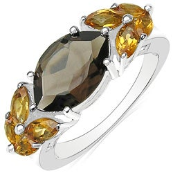 Malaika Sterling Silver Smoky Quartz and Citrine Ring