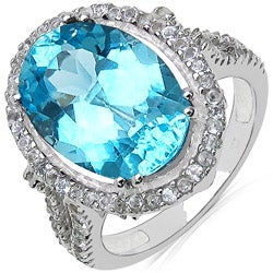 Malaika Sterling Silver Blue and White Topaz Ring