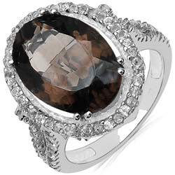 Malaika Sterling Silver Smokey and White Topaz Ring