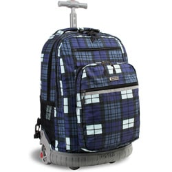 J World 'Sunset' Tartan Navy 19.5-inch Rolling Laptop Backpack