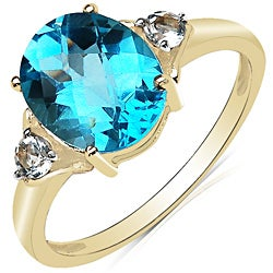 Malaika 10k Yellow Gold Blue and White Topaz Ring (3 1/3ct TGW)