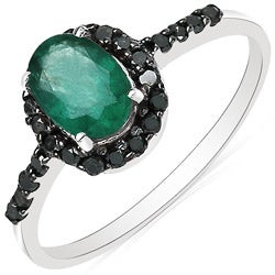 Malaika 10k White Gold Emerald and 1/4ct TDW Black Diamond Ring