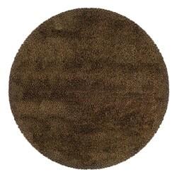 Manhattan Tweed Brown/ Gold Shag Rug (8' Round)