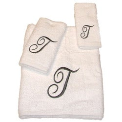 Avanti Silver Scroll T Monogram 3 Piece Towel Set
