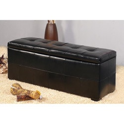 Bi-cast Leather Black Storage Bench