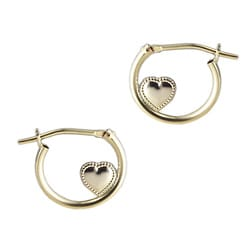 Gioelli 14K Yellow Gold Children's Heart Hoop Earrings