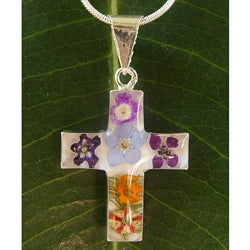 Sterling Silver Bouquet of Flower Medium Cross Necklace (Mexico)