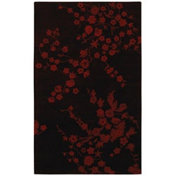 Hand-tufted Red Flower Wool Rug (5' x 8')