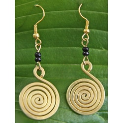 Brass Swirl and Black Glass Bead Earrings (Kenya)