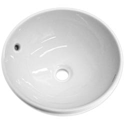 Somette Round Ceramic White Vessel Sink