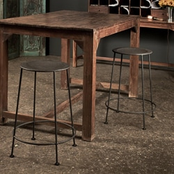 Set of 2 Iron Zinc-finish Counter Stools (India)
