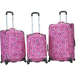 Rockland Deluxe Pearl Cirlcles 3-piece Spinner Luggage Set