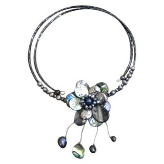 Pearl and Abalone Floral Necklace (3-12 mm) (Thailand)