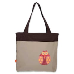 Cotton 'Owl Odysseys' Large Shoulder Bag (Thailand)