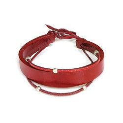 Leather 'Red Buoyancy' Bracelet (Indonesia)