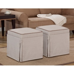 Natural Skirted Ottomans (Set of 2)
