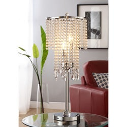 ETHAN HOME Crystal Rain 3-light Chrome Crystal Table Lamp