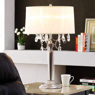 ETHAN HOME Silver Mist 3-light Crystal Chrome Table Lamp