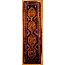 Persian Hand-knotted Navy/ Ivory Tribal Hamadan Wool Rug (4' x 13'3)